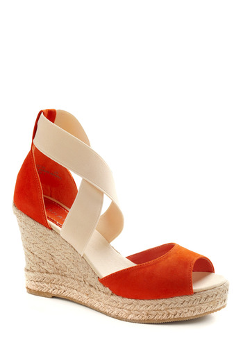 Shoe Have It All Wedge - Orange, Tan / Cream, Cutout, Party, Casual, Spring, Summer, Wedge