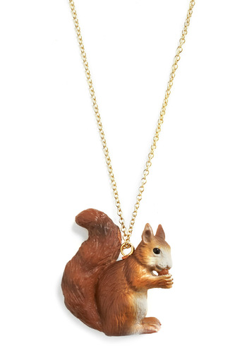 Critters Never Win Necklace in Squirrel - Brown, White, Gold, Chain, Casual