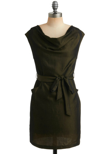 Olive Branch Out Dress - Green, Solid, Pockets, Wedding, Party, Sheath / Shift, Sleeveless, Short, Belted, Cowl