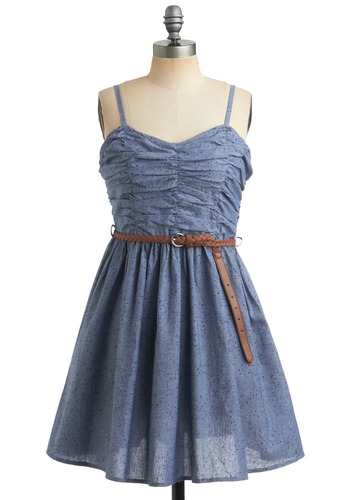 Fro Yo Making Dress in Blueberry - Blue, Print, Braided, Buckles, Casual, A-line, Spaghetti Straps, Spring, Summer, Mid-length
