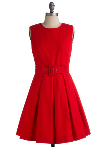 Frock Band Dress by BB Dakota - Red, Solid, Buckles, Pleats, Wedding, Party, Casual, Vintage Inspired, 50s, A-line, Sleeveless, Spring, Summer, 60s, Mid-length