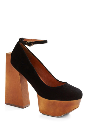 Nicest Heel on the Block by Jeffrey Campbell - Black, Brown, Solid, Buckles, Party, Casual, Statement