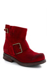 Bing-ing the Praises Boot by Jeffrey Campbell - Red, Solid, Buckles, Casual