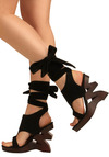 I Zig It Heel - Black, Brown, Bows, Cutout, Party, Casual, Statement, Summer, Wedge, Best Seller