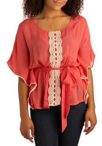 Free to Be Groovy Top - Pink, White, Solid, Bows, Crochet, Lace, Ruffles, Trim, Casual, Boho, Short Sleeves, Spring, Summer, Mid-length, Vintage Inspired, 70s