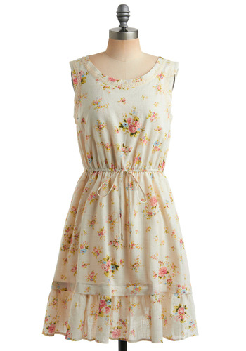 Triumph of Blooms Dress - White, Green, Blue, Pink, Floral, Bows, Ruffles, Tiered, Casual, A-line, Sleeveless, Tank top (2 thick straps), Spring, Summer, Boho, Mid-length