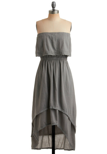 Sketch You Later Dress - Grey, Solid, Lace, Ruffles, Tiered, Trim, Casual, Boho, Strapless, Spring, Summer, Maxi, Long