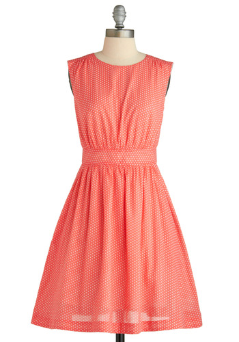 Too Much Fun Dress in Grapefruit by Emily and Fin - White, Polka Dots, Cutout, Party, Casual, Vintage Inspired, 50s, A-line, Empire, Sleeveless, Spring, Summer, Pink, Show On Featured Sale, Mid-length, International Designer