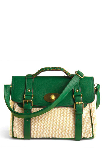 I'll Take the Briefcase Bag by Kling - Green, Cream, Braided, Buckles, Work, Casual, Spring, Summer