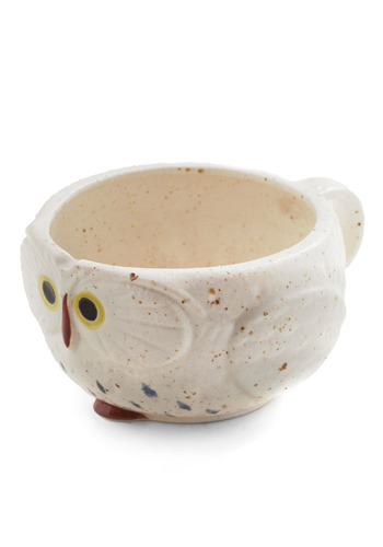Know It Owl Mug in Cream - Cream, Blue, Brown, Work, Casual, Owls
