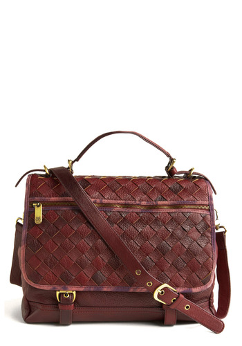 Sommelier Sophistication Satchel - Brown, Red, Purple, Buckles, Exposed zipper, Woven, Work, Casual, Summer, Fall