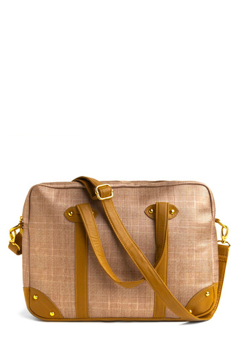 Glad for Plaid Laptop Bag - Tan, White, Plaid, Studs, Work, Casual, Spring, Summer, Fall