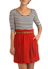 Baking Brioche Dress - Red, Blue, White, Solid, Stripes, Buckles, Pleats, Pockets, Casual, A-line, Twofer, 3/4 Sleeve, Spring, Summer, Fall, Nautical, Short, Scoop