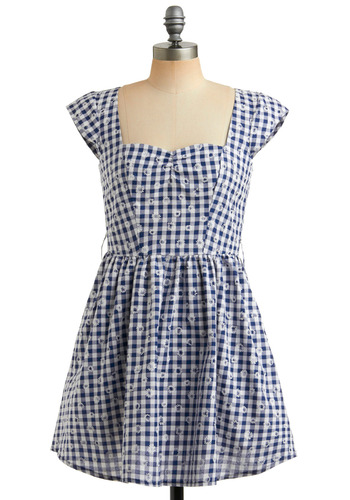 Only One for Me Dress | Mod Retro Vintage Printed Dresses | ModCloth.com :  gingham cap sleeves squareneck darted