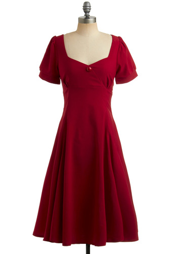 Red Like Me Dress | Mod Retro Vintage Solid Dresses | ModCloth.com :  high waist princess sleeves swing dress button