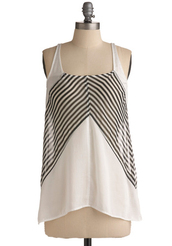 Maritime Adventure Tank - White, Black, Solid, Stripes, Casual, Tank top (2 thick straps), Racerback, Spring, Summer, Nautical, Mid-length