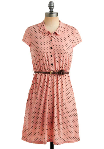 Cheerful Charm Dress - Pink, Black, Polka Dots, Braided, Buttons, Pockets, Casual, Vintage Inspired, A-line, Cap Sleeves, Spring, Summer, Shirt Dress, Mid-length