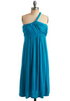 Fluid Dynamics Dress in Teal - Blue, Solid, Casual, A-line, Empire, Tank top (2 thick straps), One Shoulder, Summer, Long, Jersey, Beach/Resort