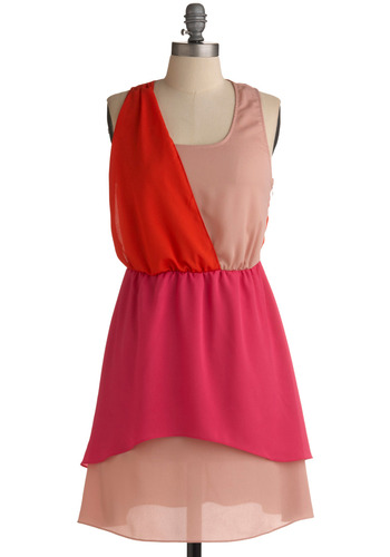 Block It Like It's Hot Dress - Orange, Pink, Tiered, Casual, A-line, Tank top (2 thick straps), Racerback, Spring, Summer, Mid-length