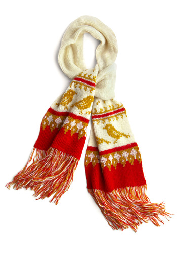 Quad Couple Scarf by Wooden Ships - White, Red, Gold, Novelty Print, Fringed, Knitted, Casual, Fall, Winter