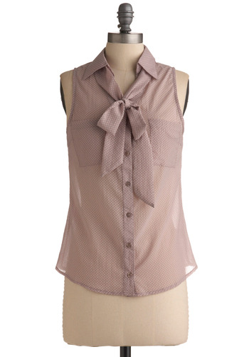 Lavender Sandies Top | Mod Retro Vintage Short Sleeve Shirts | ModCloth.com :  blouse tie neck chest pockets sleeveless