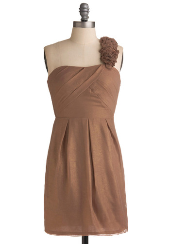 For the Big Finale Dress - Tan, Gold, Solid, Pleats, Ruffles, Wedding, Party, Tank top (2 thick straps), One Shoulder, Spring, Summer, Fall, Empire, Mid-length