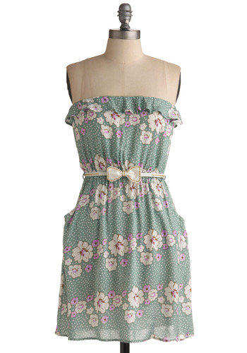 Gazing at the Gulf Dress - Green, Pink, White, Polka Dots, Floral, Bows, Pockets, Ruffles, Casual, A-line, Empire, Strapless, Spring, Summer, Short