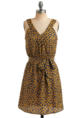 Ele-fun in the Sun Dress - Yellow, Blue, Print with Animals, Novelty Print, Bows, Casual, A-line, Tank top (2 thick straps), Spring, Summer, Mid-length