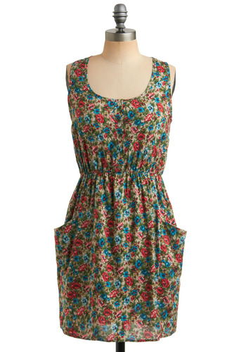 Floral Explorer Dress - Multi, Red, Green, Blue, Tan / Cream, Floral, Buttons, Pockets, Casual, A-line, Tank top (2 thick straps), Racerback, Spring, Summer, Mid-length