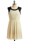 Crumpets and Cream Dress - Black, Pleats, Party, A-line, Sleeveless, Cream, Mid-length