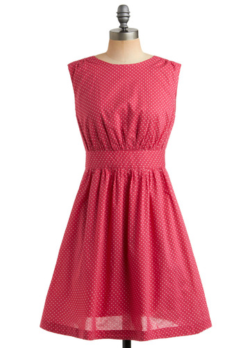Too Much Fun Dress in Raspberry by Emily and Fin - Pink, White, Polka Dots, Cutout, Pockets, Party, Casual, A-line, Sleeveless, Mid-length, International Designer