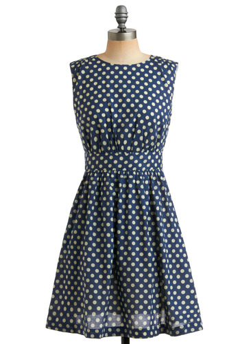 Too Much Fun Dress in Marine by Emily and Fin - Blue, Tan / Cream, Polka Dots, Cutout, Pockets, Party, Casual, A-line, Sleeveless, Empire, Mid-length, International Designer