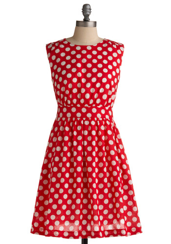 Too Much Fun Dress in Cherry by Emily and Fin - Red, White, Polka Dots, Cutout, Pockets, Party, Casual, A-line, Sleeveless, Cotton, Fit & Flare, International Designer, Mid-length, Pinup, Basic