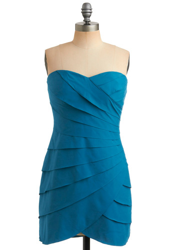 Lake Tahoe Dress - Blue, Solid, Tiered, Party, Mini, Shift, Strapless, Short