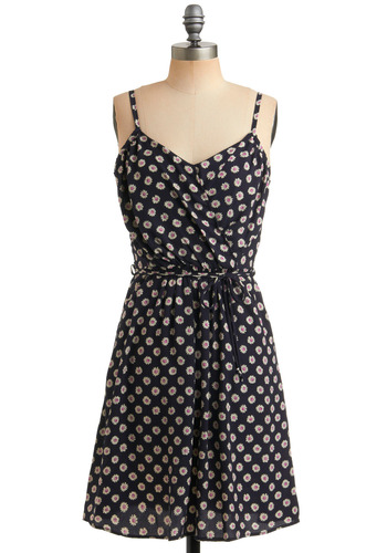 Daisy Bell Dress - Blue, Pink, White, Floral, Bows, Pockets, Casual, A-line, Spaghetti Straps, Spring, Summer, Mid-length