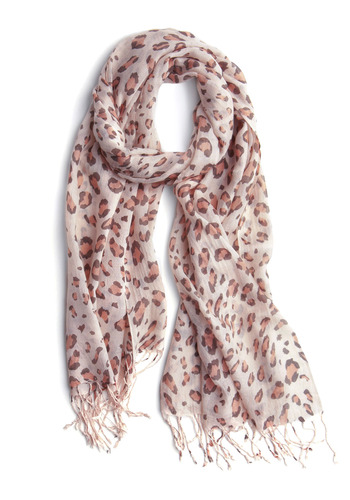 Style Spotting Scarf - Cream, Brown, Animal Print, Fringed, Casual, Fall