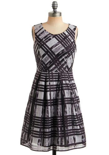 Born to Entertain Dress - Plaid, Pleats, Party, A-line, Sleeveless, Tank top (2 thick straps), Blue, Black, Grey, Mid-length