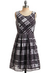 Born to Entertain Dress - Plaid, Pleats, Party, Casual, A-line, Sleeveless, Tank top (2 thick straps), Blue, Black, Grey, Mid-length