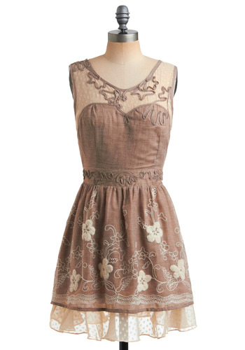 Old-Fashioned Romance Dress - Brown, Tan / Cream, Bows, Embroidery, Tiered, Trim, Casual, A-line, Sleeveless, Show On Featured Sale, Short