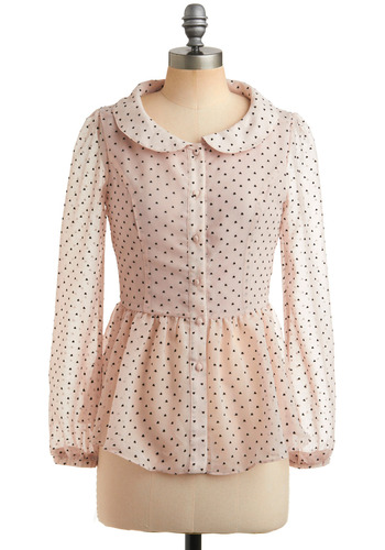 Sheer Your Feelings Top - Pink, Black, Polka Dots, Novelty Print, Buttons, Peter Pan Collar, Ruffles, Work, Casual, Long Sleeve, Mid-length