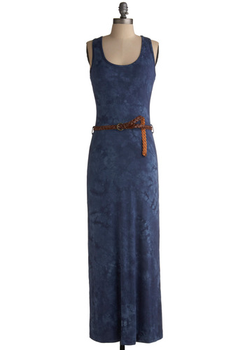 Ocean Walker Dress - Blue, Print, Braided, Casual, Maxi, Sheath / Shift, Tank top (2 thick straps), Racerback, Spring, Summer, Long, Boho