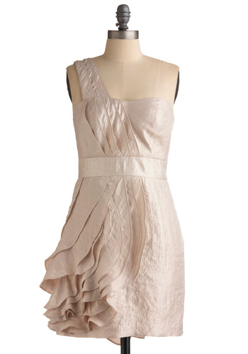 Sipping Cava Dress by Max and Cleo - Cream, Solid, Ruffles, Tiered, Special Occasion, Prom, Wedding, Party, Sheath / Shift, Tank top (2 thick straps), One Shoulder, Mid-length