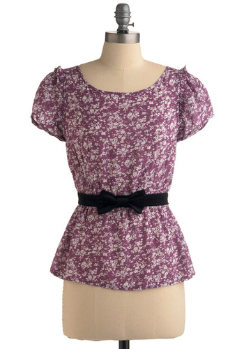Berry Tale Romance Top | Mod Retro Vintage Short Sleeve Shirts | ModCloth.com :  cap sleeves berry black accents purple and white