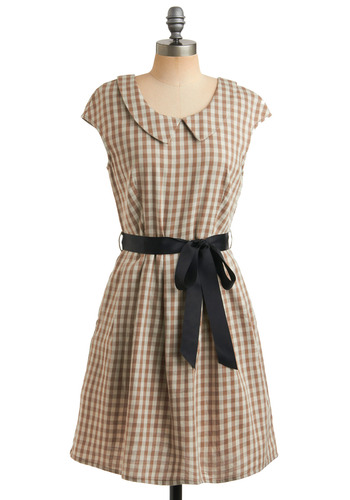 Perfect Weekend Dress by Miss Patina - Tan, Cream, Black, Checkered / Gingham, Bows, Buttons, Peter Pan Collar, Pleats, Pockets, Party, Casual, Vintage Inspired, A-line, Cap Sleeves, Spring, Summer, Mid-length