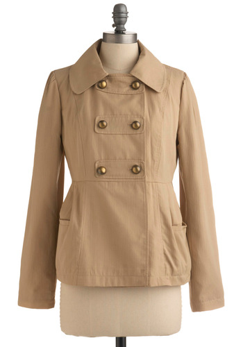 Steady Goes Jacket | Mod Retro Vintage Jackets | ModCloth.com :  jacket brass buttons front pockets khaki