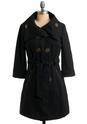 Girl Noir Jacket | Mod Retro Vintage Jackets | ModCloth.com :  jacket trench twill noir