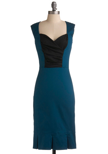 Toastess with the Mostess Dress - Blue, Black, Pleats, Party, Work, Sheath / Shift, Strapless, Long, Show On Featured Sale