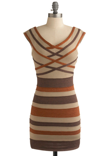 Chocolate Caramel Cheesecake Dress - Tan, Brown, Grey, Stripes, Party, Casual, Mini, Shift, Cap Sleeves, Vintage Inspired, 80s, Short