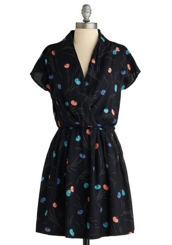 Sprout It Out Dress - Black, Orange, Green, Blue, Floral, Pockets, Casual, A-line, Short Sleeves, Spring, Summer, Shirt Dress, Wrap, 80s, Mid-length