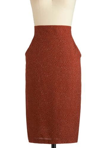Ms. Dashing Skirt - Brown, Polka Dots, Pockets, Work, Casual, Vintage Inspired, Sheath / Shift, Long, Orange